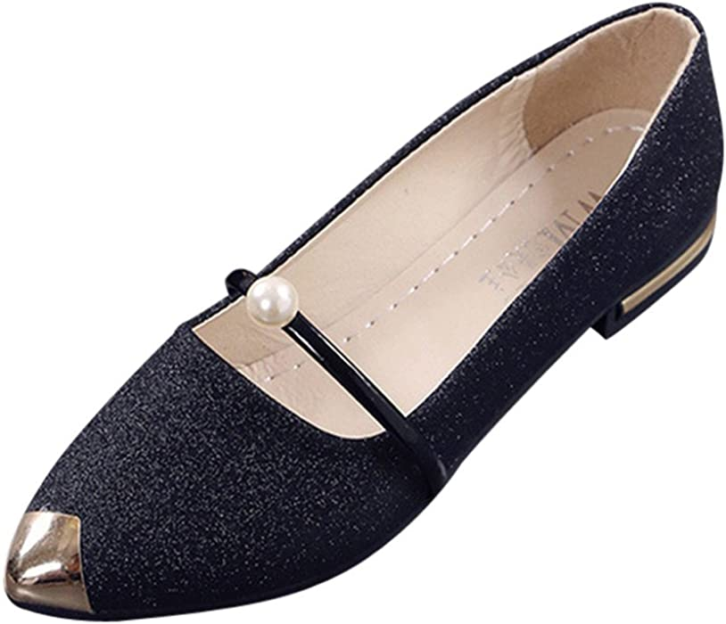 33fca679ef6fe Amazon.com: Women Cute Sexy Pointed Toe Shoes, Casual Low Heel Flat ...