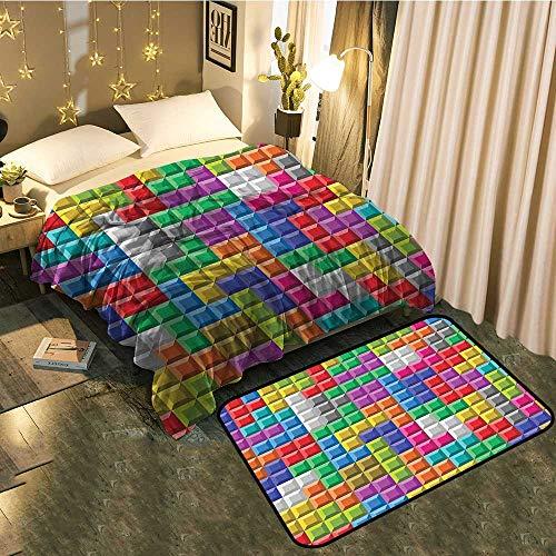 "Blanket mat Set Combination Colorful Retro Gaming Computer Brick Blocks Image Puzzle Digital 90s Play Good for All Seasons Blanket 60""x78""/Mat 39""x15"""