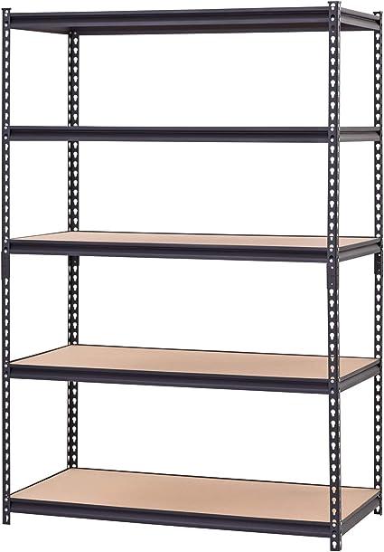 "Metal Muscle Rack Shelving Storage 48/""W x 24/""D x 72/""H Garage 5 Shelf Heavy Duty"