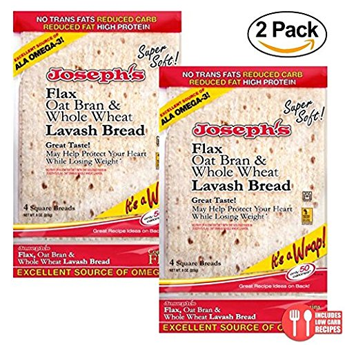 (2 Pack Value: Joseph's Lavash Bread Flax Oat Bran & Whole Wheat Reduced Carb, 8)