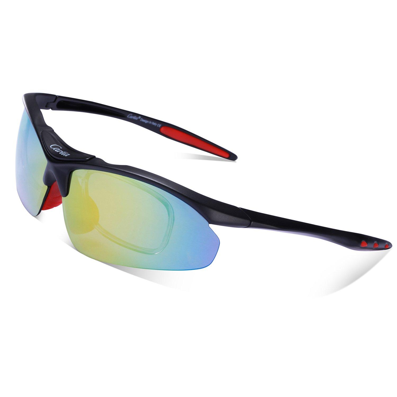 Gafas de Sol Deportivas Polarizadas,Carfia TR90 UV400 Unisex Gafas de Sol Deportivas Polarizadas 5 Lentes de Cambios Incluido para Deporte y Aire Libre ...