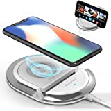 QI Wireless Charging Stand,Bavin 10W Fast Wireless Charging Pad Compatible iPhone 8/8Plus/X,Samsung S6/S7/S8/S8P/S9/S9P/Note8,Google Mexus 4/5/6/7 All Qi-Enabled Phones (No AC Adapter)