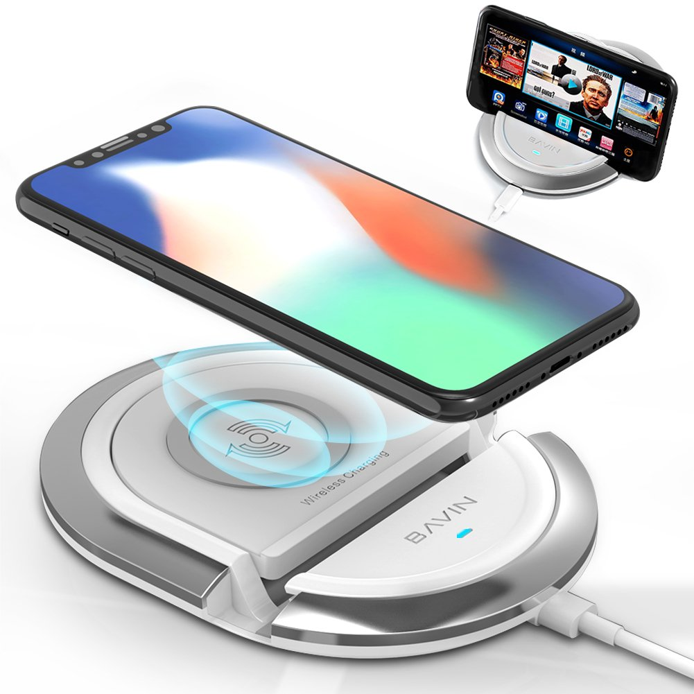 huge discount 7fb30 a74ec QI Wireless Charging Stand,Bavin 10W Fast Wireless Charging Pad Compatible  for iPhone XR/8/8Plus/X,Samsung S6/S7/S8/S8P/S9/S9P/Note8,Google Mexus ...