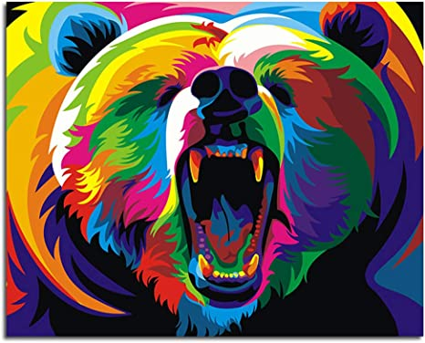 Colorful Bear 16 x 20 inch Canvas DIY Acrylic oil Painting for Kids /& Adults /& Beginner Without Frame ifymei Paint By Numbers Kits