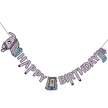 Amazon.com: Banderín de fiesta de cumpleaños llama: Toys & Games