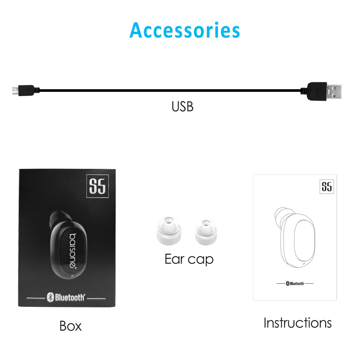 Black Mini Wireless Earbuds Bluetooth Earphone in-Ear Barsone Earpiece w//Built-in Microphone 6hrs Playtime Car Bluetooth Headset for Running Working and Gaming
