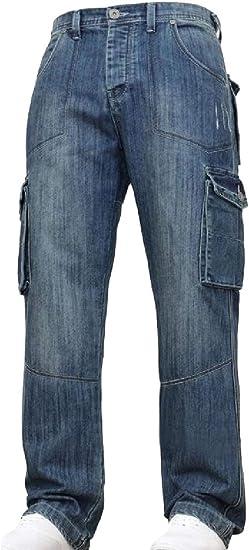 Qiangjinjiu メンズジーンズ リラックスフィットカーゴパンツルーズファッションラギッドウェアプラスサイズパンツ