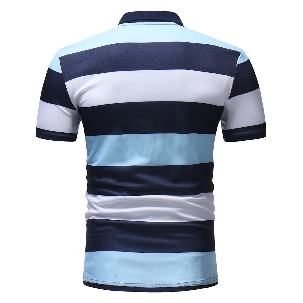 Vickyleb Mens Polo Shirts Clearanc Casual Splicing Pullover Shirt Short Sleeve Tops Slim Fit T-Shirts Men Striped Blouse
