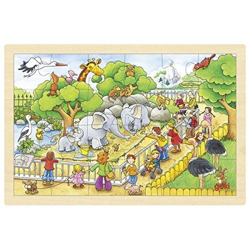Goki 2041635 - Puzzle En Bois À Encastrement - Visite De Zoo - 24 Pièces