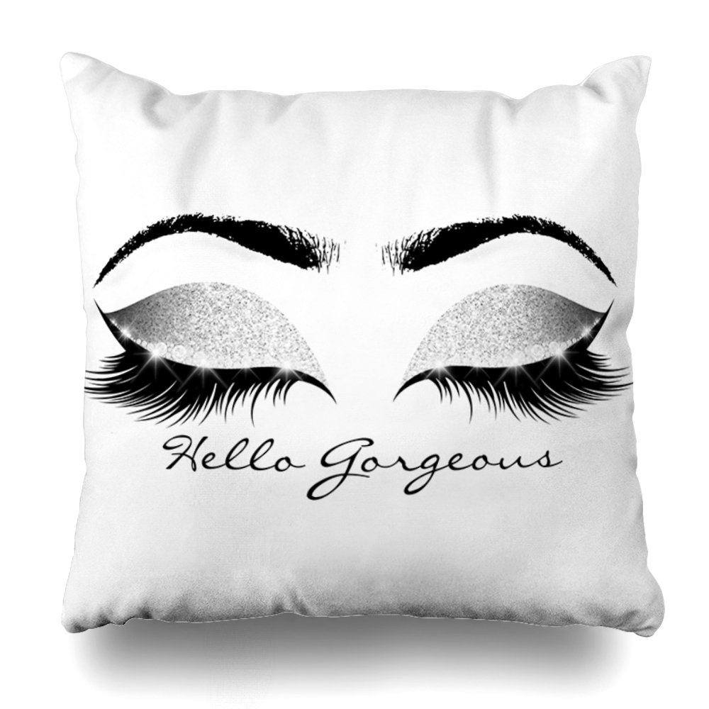 suesoso Pillowcover 20x20 Two Sides Printed Soft Cotton Gray Glitter Black Eyes Silver Makeup Lashes Hello Lumbar Throw Pillow Cover Home Decorative Cushion Case Pillow Case Sofa Bed car Living ho