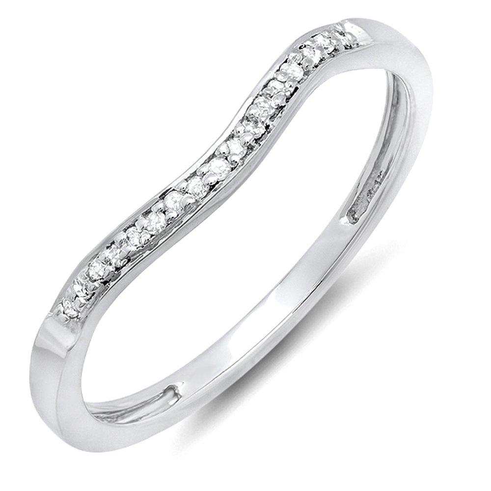 Dazzlingrock Collection 0.10 Carat (cttw) Round White Diamond Ladies Wedding Guard Band Ring 1/10 CT, Sterling Silver, Size 7 by Dazzlingrock Collection