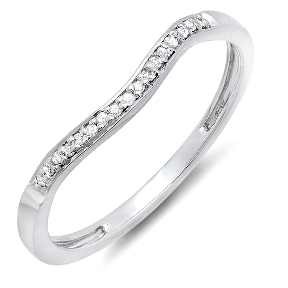 Dazzlingrock Collection 0.10 Carat (ctw) Sterling Silver Round Diamond Ladies Wedding Band Guard Ring 1/10 CT (Size 8)