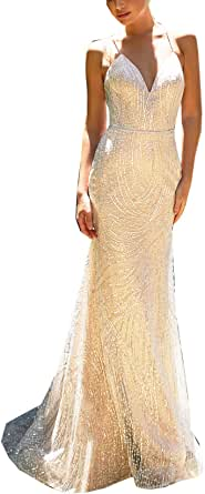 CGown Women's Spaghetti Strap Mermaid Wedding Dresses with Train Lace Beaded Bridal Ball Gown Plus Size