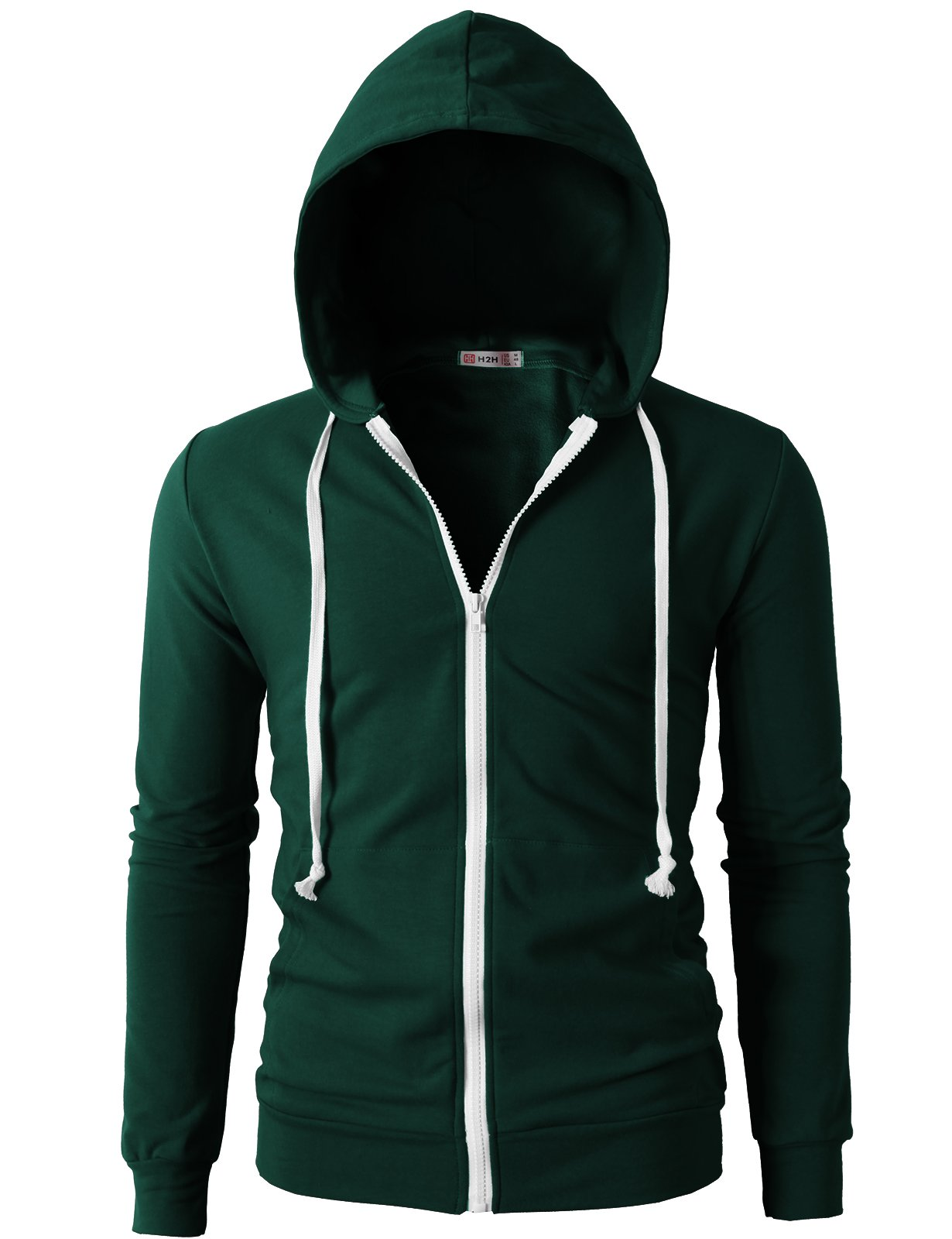 H2H Men's Casual Striped Drawstring Hooded And Zipper Closure Hoodies FORESTGREEN US XL/Asia XXXL (JNSK24) by H2H (Image #3)