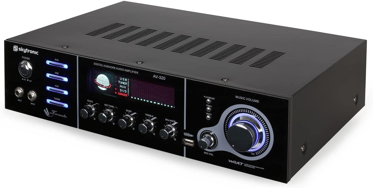 Skytronic AV-320 Amplificador Karaoke HiFi 5 Canales USB: Amazon ...
