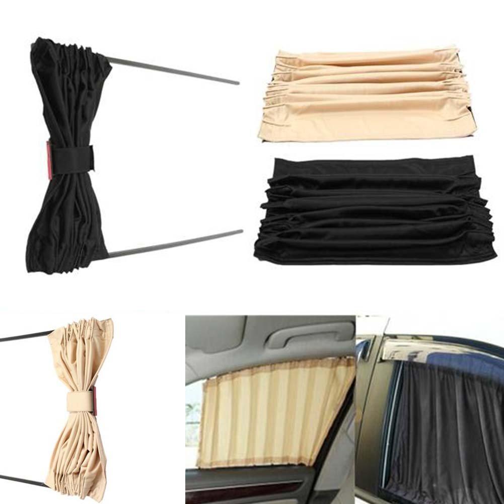 Rideaux pare-soleil de voiture isolation thermique bloque les rayons UV nocifs pour les fen/êtres lat/érales en tissu Noir pare-soleil 2 pi/èces occultants