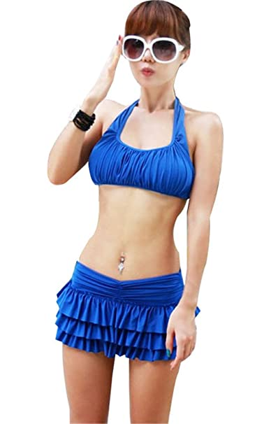 Amazon.com: Arctic Cubic 2PCS Ruched Halterneck Crop Bikini ...