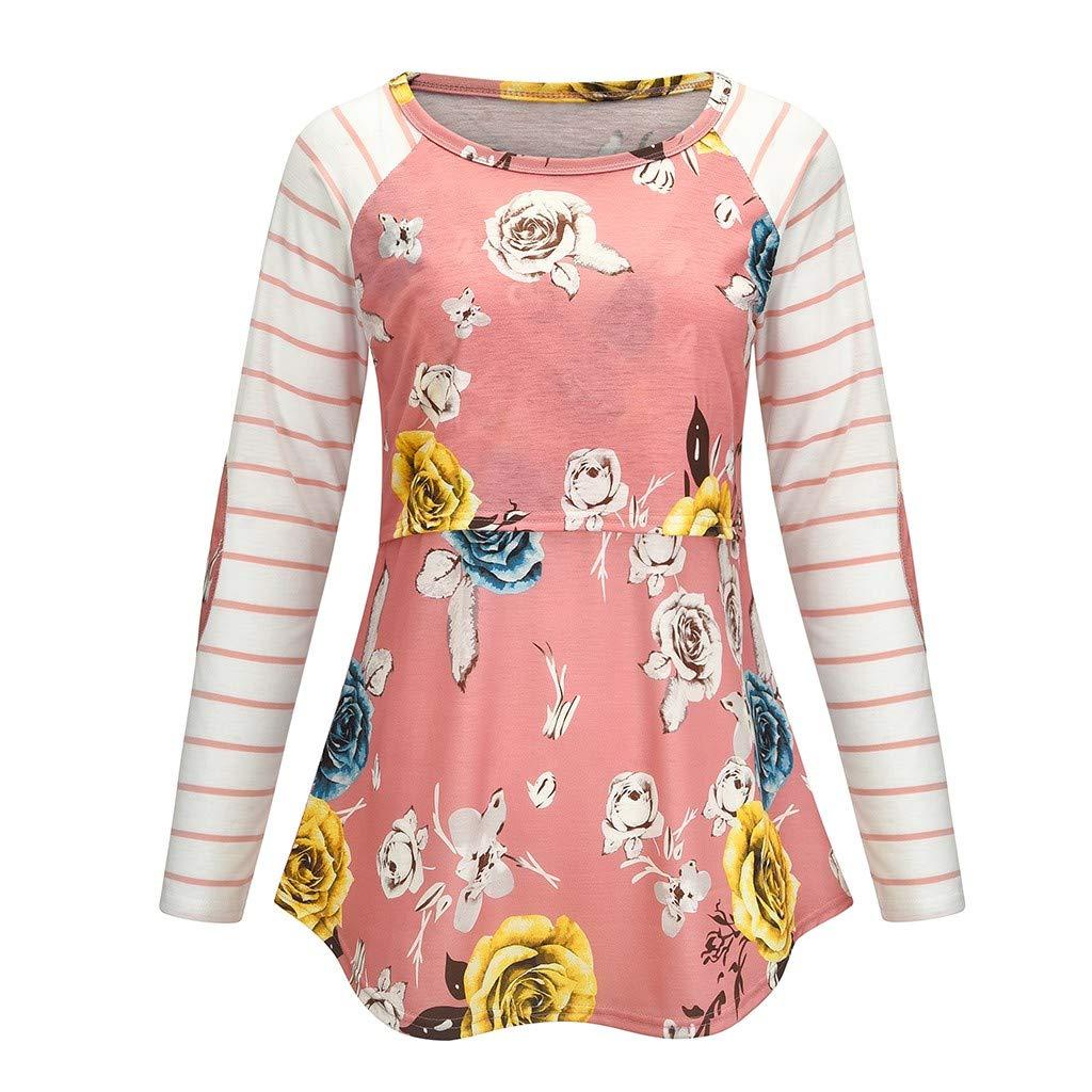 Aberimy/Damen/Elegant/Stillshirt/Langarm/Baumwolle/Maternity/Langarmshirt/Rose-Druck Streifen Casual Stillpullover/Stilltop/Umstandsshirt/Schwangerschaft/Umstandsmode/Still/Shirt/Ob