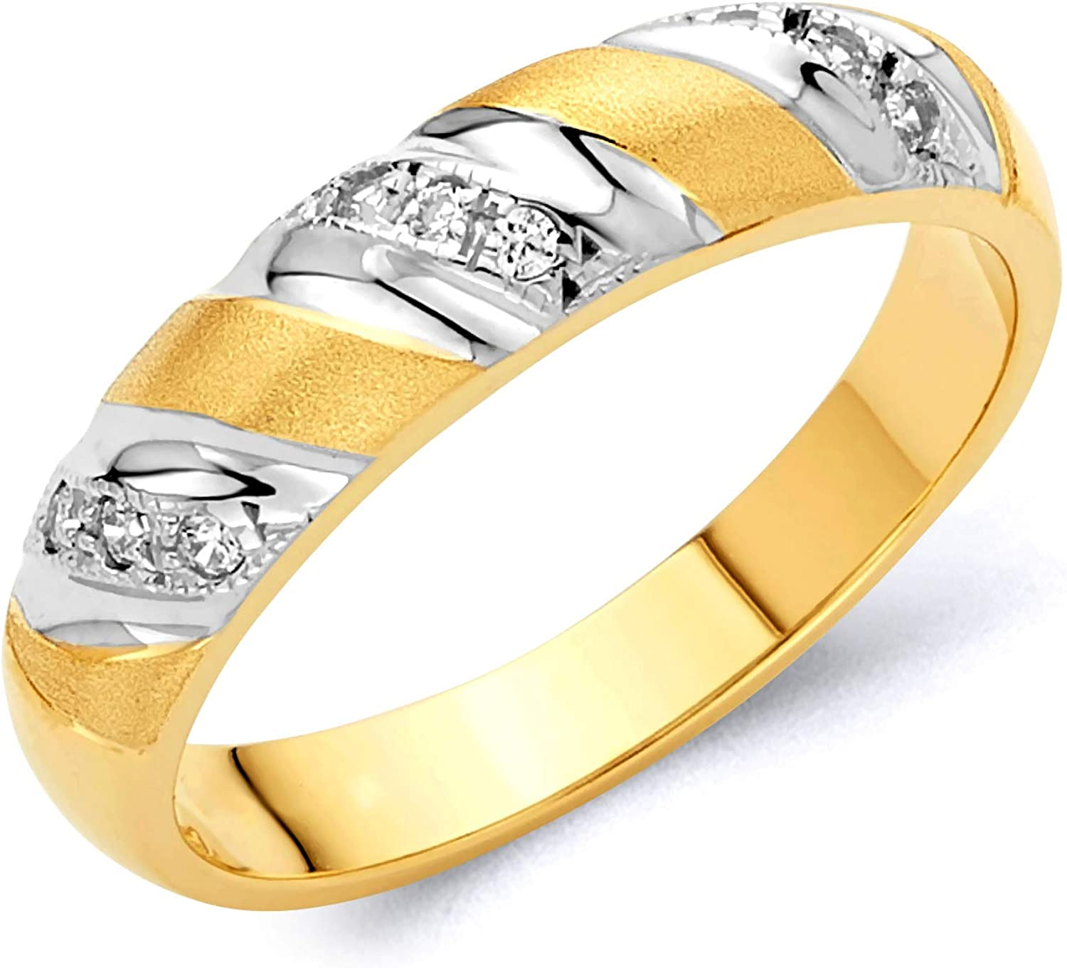 Wellingsale Mens Solid 14k Two 2 Tone White and Yellow Gold Polished CZ Cubic Zirconia Wedding Band