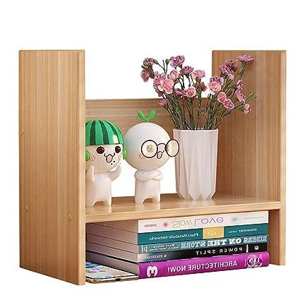 Bookshelf Simple Table Shelf Office Rack Mini Desktop Storage Color Wood