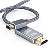 Mini DisplayPort to HDMI Cable, [4K@30Hz] Capshi Nylon Braid Thunderbolt to HDMI Cable, UHD High Speed Mini DP to HDMI Cord Compatible MacBook Air/Pro, Surface Pro/Dock 6.6Ft