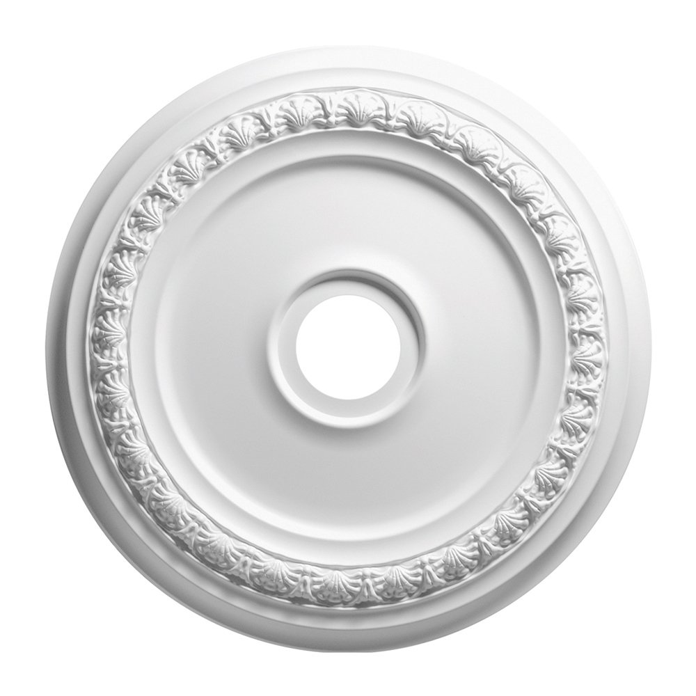 Focal Point 83418 18-Inch Shell and Bellflower Medallion 18 1/2-Inch by 18 1/2-Inch by 1 1/8-Inch, Primed White