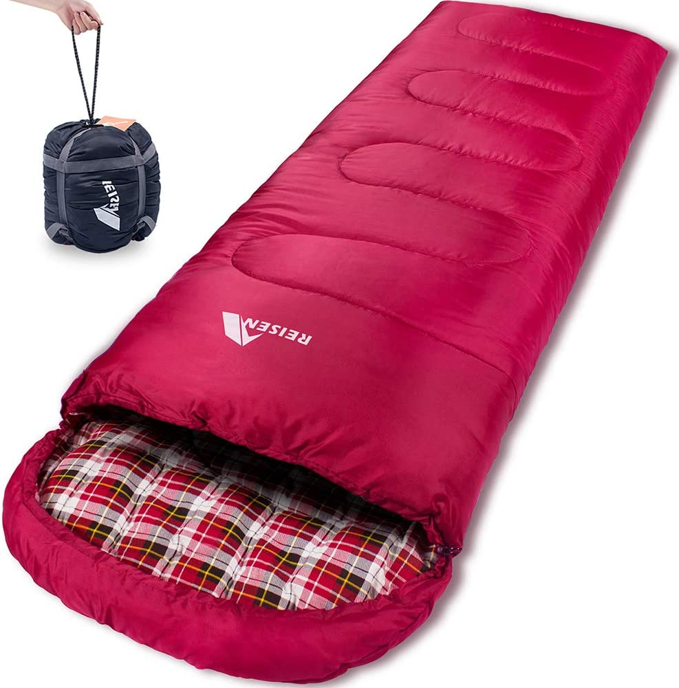 Reisen Warm Cold Weather Sleeping Bag, 0 Degree Celsius Lightweight Sleeping Bags for Adults Youth, Great for 3-4 Season Backpacking Camping Hiking 30 F-50 F
