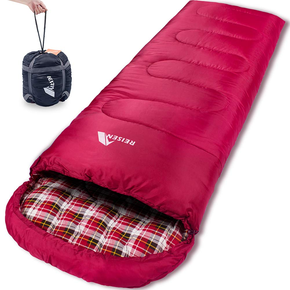 Reisen 0 Degree Lightweight Sleeping Bag Flannel, Cold Weather Sleeping Bags for Adults/Youth,Camping/Backpacking/Hiking -0°C ... by Reisen