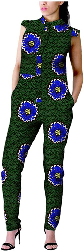 Afripride Ankara Print Casual Jumpsuit for Women Tailor Made Short Sleeves Full Length Women Jumpsuit A722907