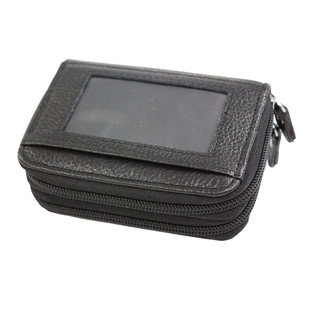 Vodux Genuine Leather Accordion Style Credit Card Holder Wallet One Size Black