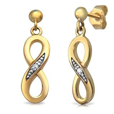 9ct Gold Infinity Earrings set with Real Diamonds CRhTYD