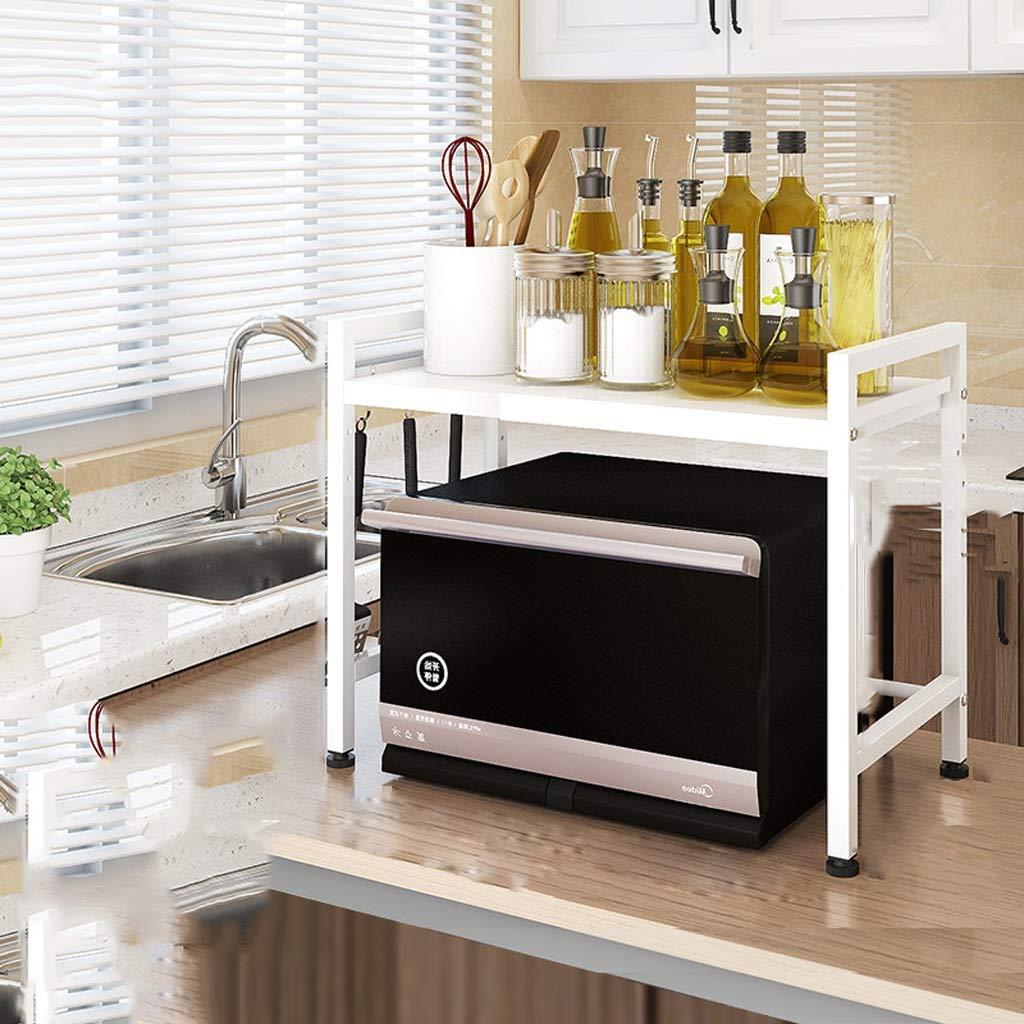 収納ラック HJBH高品質炭素鋼キッチンラックシンプルSDBAIHUOステンレス鋼電子レンジラック多機能炊飯器収納ラック伸縮スペース3965センチ品質保証(ブラック/ホワイト) シューラック収納、収納ラックキッチン (色 : 白) B07RJ9BXYK 白