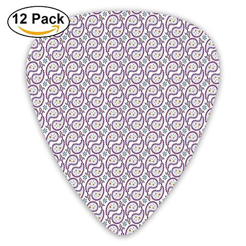 (Raindrop Pattern With Flowers Sunflakes And Royal Ornament Ending Guitar Picks 12/Pack Set)