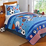 3pc Boys Blue All Star Sports Theme Quilt Queen Set, Orange Red, Fun Kids Sport Super Stars Bedding, Stylish Basketball Football Soccer Ball Volleyball Baseball Themed Stripe Pattern
