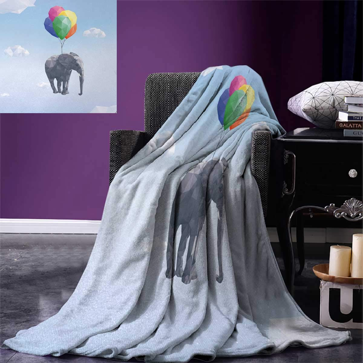 Animal Digital Printing Blanket Elephant Attached to Colorful Baloons in Sky Geometric Paper Effect Polygonal Art Summer Quilt Comforter 80''x60'' Multicolor