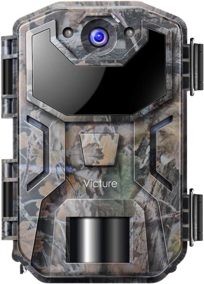 Victure Cámara de Caza Nocturna 20MP 1080P con Diseño Impermeable IP66 Cámara de Fototrampeo con Detección de Acción LED IR Sin Brillo para Seguimiento Cinegético de Fauna