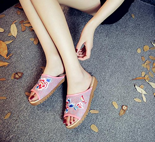 WXT Peony zapatos bordados, lenguado de tendón, estilo étnico, flip flop femenino, moda, cómodo, sandalias Pink