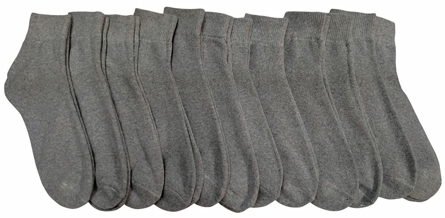 12 Pairs of Women's Quarter Length Low Cut Ankle Socks, Cotton (Gray),Size-9-11,Fits Women's with shoe sizes 5-11