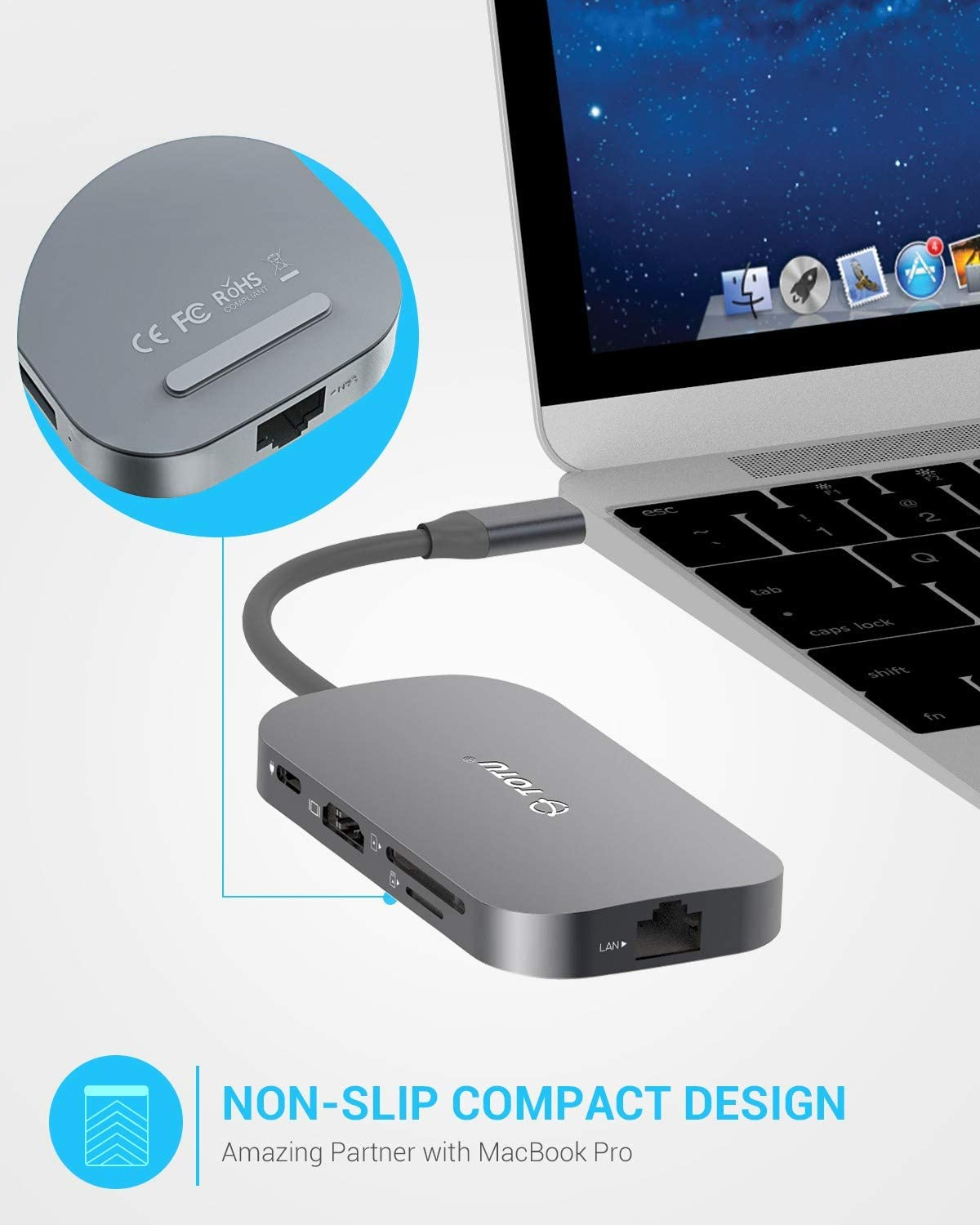 TOTU USB C Hub,9-In-1 Type C Hub with Ethernet Port, 4K USB C to HDMI, 2 USB 3.0 Ports, 1 USB 2.0 Port, SD/TF Card Reader, USB-C Power Delivery, Portable for Mac Pro and Other Type C Laptops (Silver): Computers & Accessories