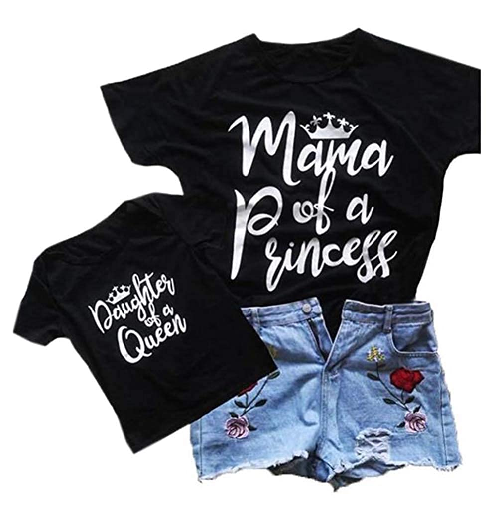 Mommy and Me Mama Bear /& Baby Bear Print Short Sleeve Black T-Shirt Family Matching Letter T Shirt Clothes Outfits