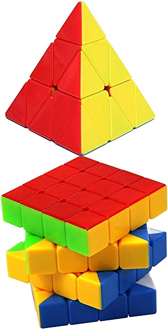 Assemble 4x4 Speed Cube Stickerless Magic Cube Puzzle Brain Teasers & Smooth Pyramix Magic Cube Stickless Puzzle Cube Colourful (Pyraminx)