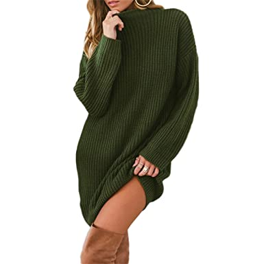 13afda8c17c ZMLIA Womens Sweater Dress Knitted Long Sleeve Pullover Knitwear O-Neck  Long Sweaters at Amazon Women s Clothing store