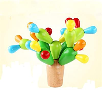 GoodPlay Wooden Assembly Balancing Cactus Removable Building Toys Stacking Blocks Puzzle Games for Kids: Toys & Games