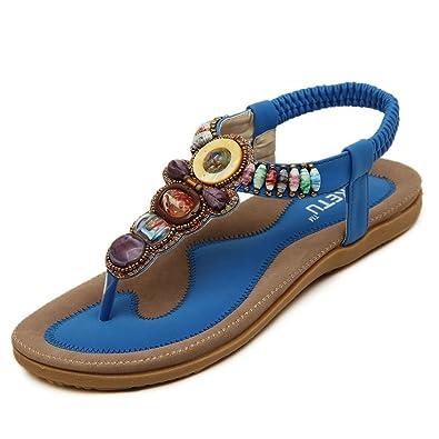 iLory Damen Flach Sandalen Sommer Bohemian Schuhe Zehentrenner Sandaletten Schwarz 42 Sk2lL0CkW