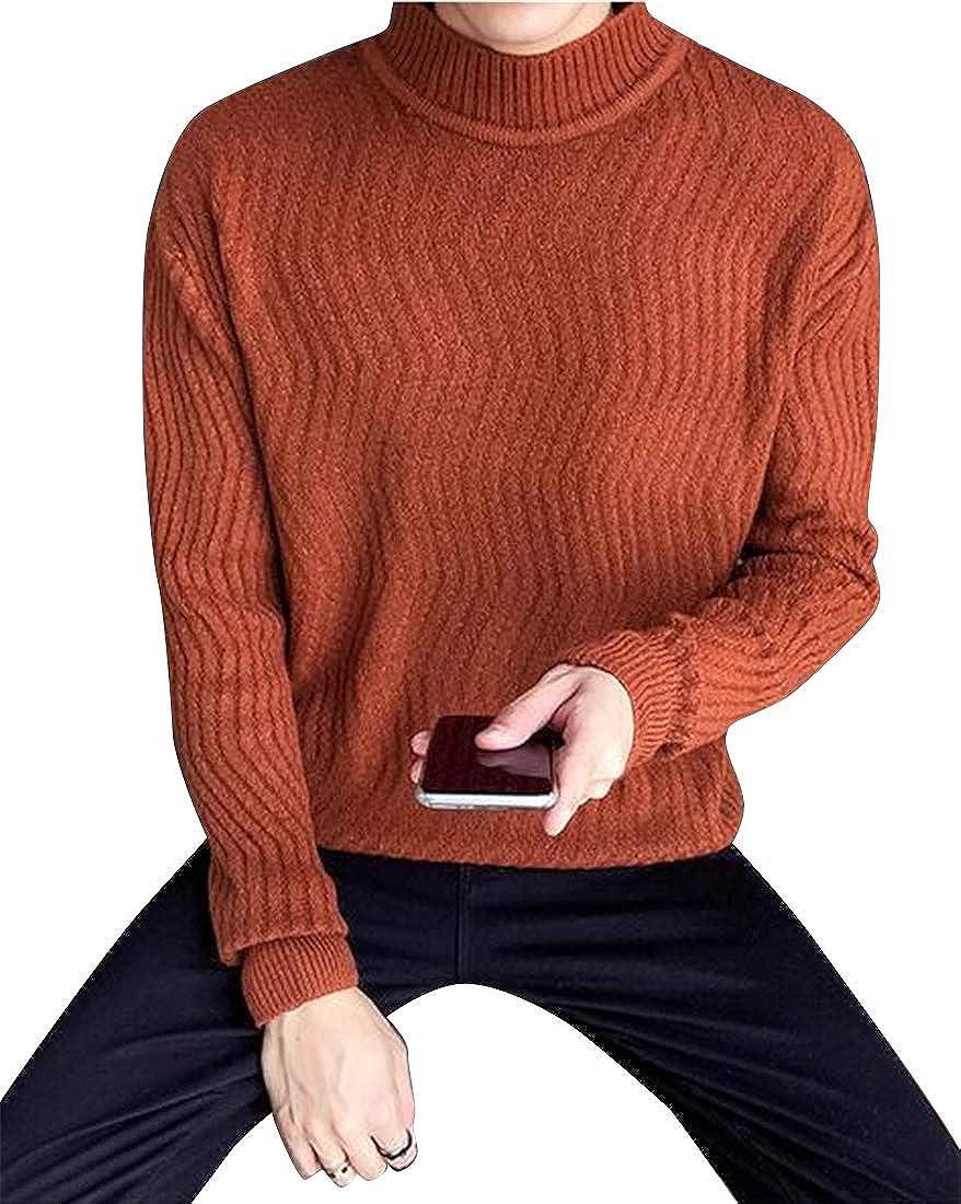 pipigo Mens Rib-Knit Regular Fit Turtle Neck Comfort Solid Color Pullover Sweater