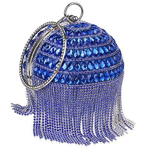 Wedding Purse Handbags Fringe Chain Clutches Bags Evening For Womens Dress Blue PwF6qYz