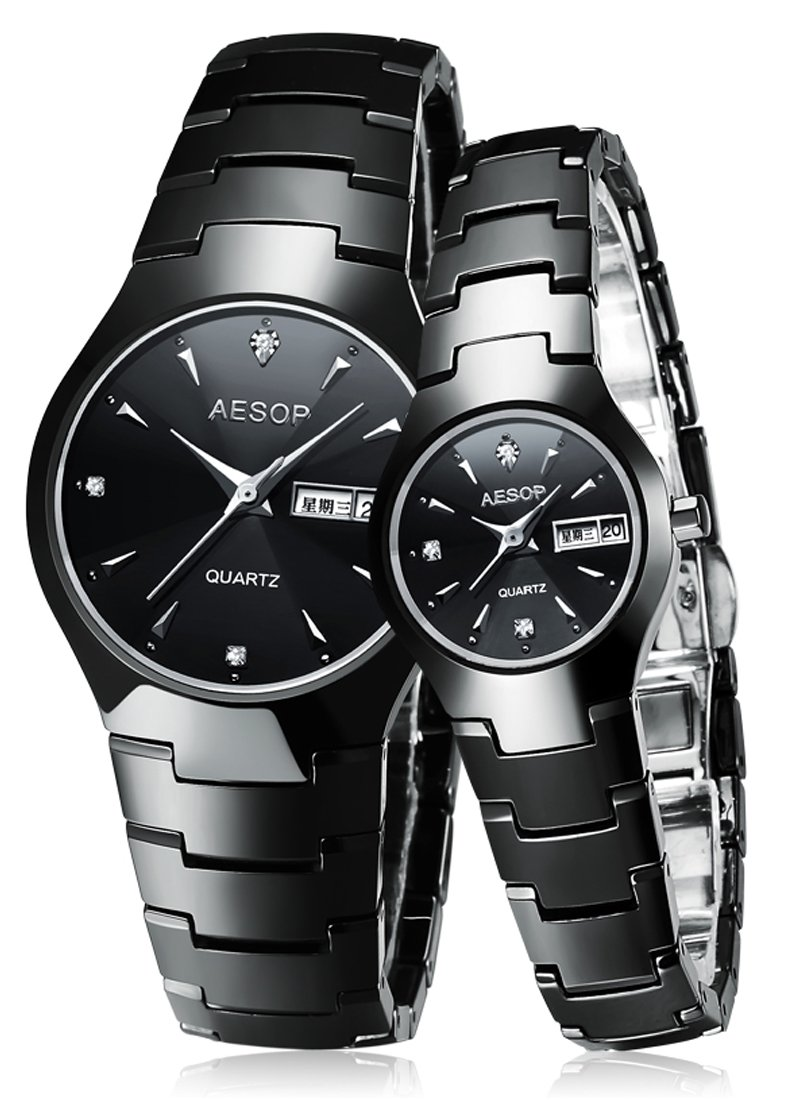 AESOP Couple Watches Ceramic Waterproof Quartz Wristwatch For Her or His
