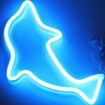 Décoratio Et Dauphin Light Chambre De Néon Lampes Au Murale usb Signes Veilleuses À Led Signe Bleu Pour Luminaires Batterie YDE2IWH9