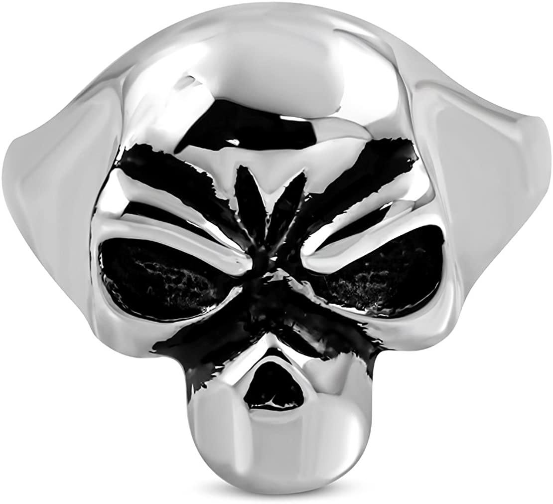 Stainless Steel 2 Color Skull Face Biker Ring