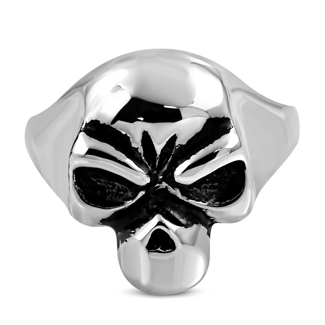 Stainless Steel 2 Color Skull Face Biker Ring